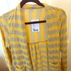 Yellow and Grey stripped sweater